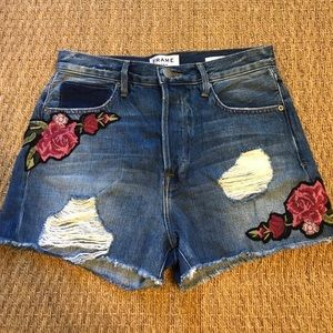 FRAME Rose Denim Shorts